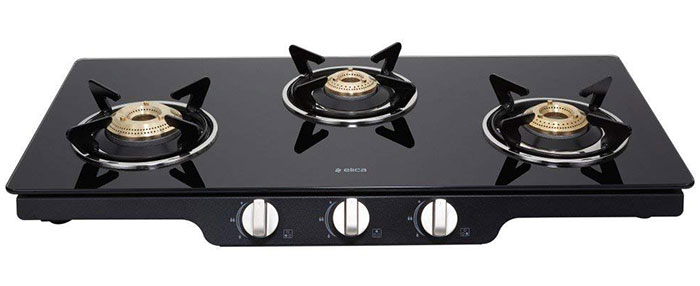 Elica Glass 3 Burner Auto Ignition Gas Stove (Patio ICT 773 BLK AI)