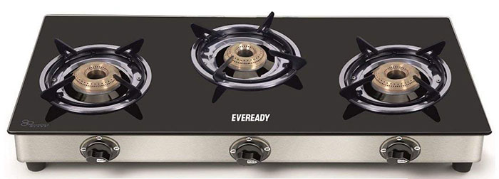 Eveready TGC3B Glass Top 3 Burner Gas Stove