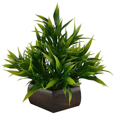 Artificial Bamboo Leaves Plant with Wooden Pot