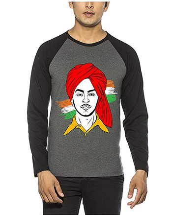 BUGG Charcoal & Black Color Cotton Raglan Bhagat Singh T Shirt