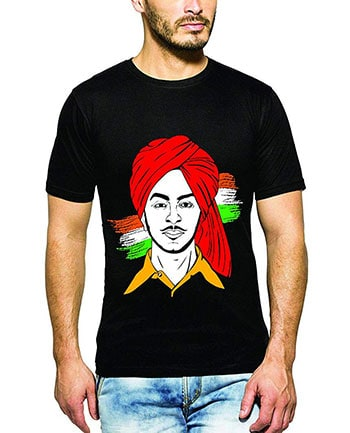 BUGG Men's Cotton Bhagat Singh T-Shirt