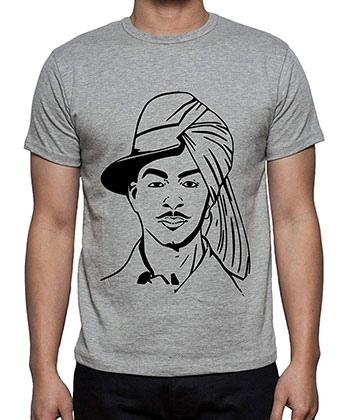 Caseria Men's Cotton Graphic Printed Half Sleeve Shaheed Bhagat Singh T-Shirt