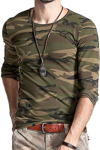Lionroar Men's Army Round Neck Full Sleeve Camouflage T-Shirt