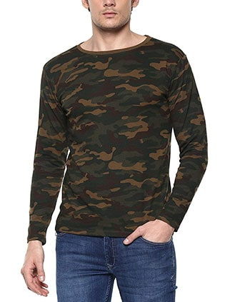 Urbano Fashion Men's Green Camouflage Round Neck Full Sleeve T-Shirt
