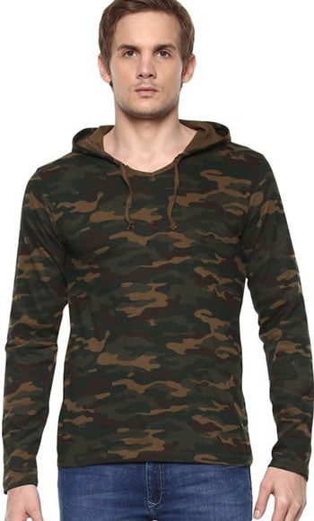 Urbano Fashion Military Camouflage Men's Hooded Green T-Shirt