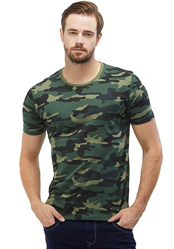 WYO Wear Your Opinion Men's Cotton Camouflage Half Sleeve T-ShirtWYO Wear Your Opinion Men's Cotton Camouflage Half Sleeve T-Shirt