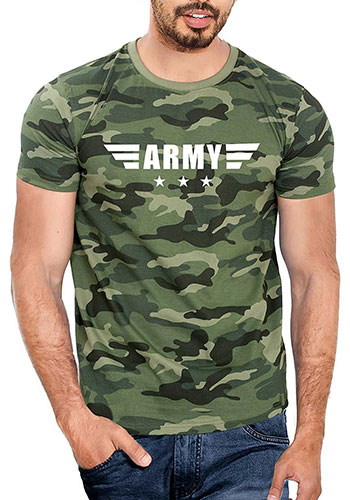 WYO Wear Your Opinion Men's Army Print T-Shirt