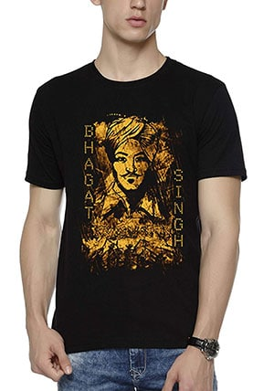 Wear Your Opinion Men's Cotton Bhagat Singh Black T-Shirt